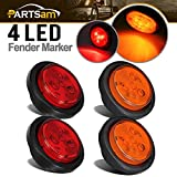 "Partsam 2 Amber + 2 Red LED 2.5""in. Round Clearance/Side Marker Light Kit with Light Grommet & Wire Pigtail Truck Trailer RV"