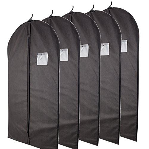 """Plixio Breathable 40"""" Black Garment Bags for Storage of Suits or Dresses with Zipper & Transparent Window (Pack of 5)"""