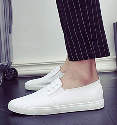 Aisun Mens Casual Comfy Round Toe Platform Sneakers Slip On Loafers Skateboard Flats Shoes White KI6vqt