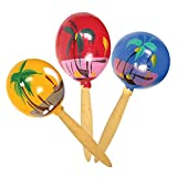 8'' Inch Genuine Wooden Hand Painted Party Fiesta Maracas (12 Pairs - 24 Pieces Per Pack)