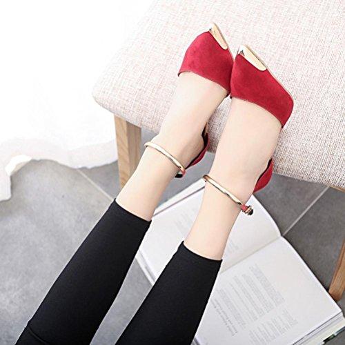 FEITONG De las mujeres Sandalias De Verano Zapatos Peep-toe High Zapatos Sandalias romanas Señoras Dar la vuelta Flops Sandalias Rojo