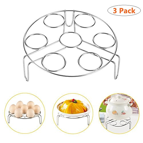 Crab Legs Steamed (E EVERKING Steamer Rack, Egg Steam Rack Stand Food Steaming Basket Holder Stainless Steel Stackable Cooker for Kitchen Instant Pot and Pressure Cooker, 3 Pack)