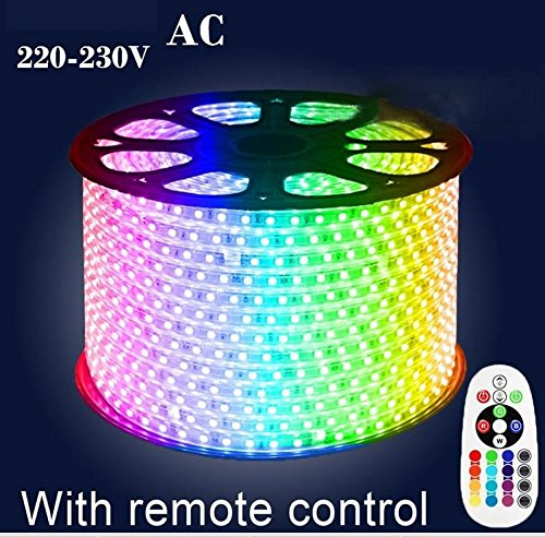 5050 RGB Waterproof IP67 LED Strip + Remote Control + Power 10m AC 220v-230v