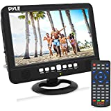 10 Inch Portable Widescreen TV - Smart Rechargeable Battery Wireless Car Digital Video Tuner, 1024x600p TFT LCD Monitor Screen w/Dual Stereo Speakers, USB, Antenna, Remote, RCA Cable - Pyle PLTV1053
