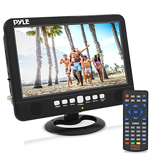 10 Inch Portable Widescreen TV - Smart Rechargeable Battery Wireless Car Digital TV Tuner, 1024x600p TFT LCD Monitor Screen w/Dual Stereo Speakers, USB, Antenna, Remote, RCA Cable - Pyle PLTV1053 ()