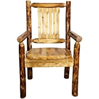 Montana Woodworks MWGCCASCN Glacier Country Collection Captains Chair with Ergonomic Wooden Seat