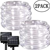 Solar String Lights Outdoor Rope Lights, 2 Pack 100 LED 8 Modes Waterproof Tube Light Copper Wire Fairy Lights for Garden Fence Patio Yard Summer Party Wedding Indoor Décor,Cool White