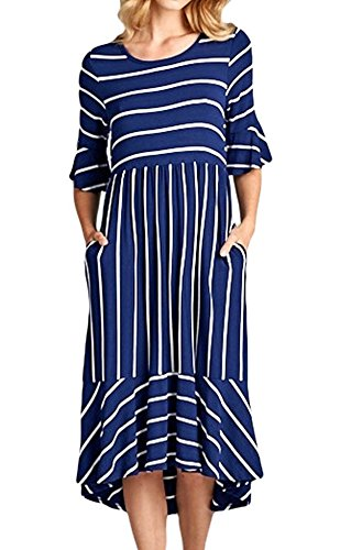 Hestenve Women's Stripe Printed Flouncing Trim Empire Waist Maxi Dress with (Pointelle Jersey Dress)