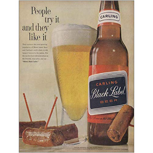 (RelicPaper 1961 Carling Black Label Beer: People Try It and They, Carling Brewing Print Ad)