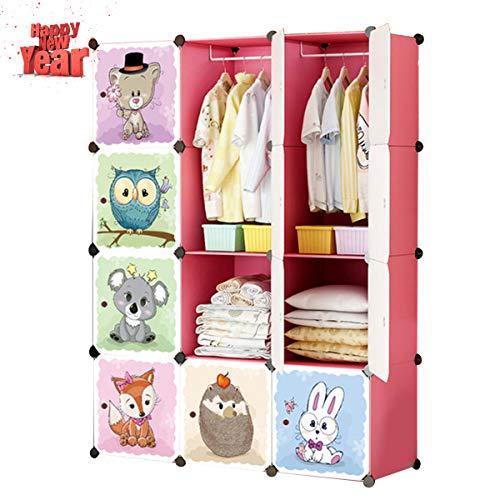 KOUSI Kid Dresser Portable Closet Wardrobe Children Bedroom Armoire Clothes Hanging Storage Rack Cube Organizer,Cute Cartoon,Safety & Large & Sturdy, Pink,8 Cubes & 2 Hanging Clothes
