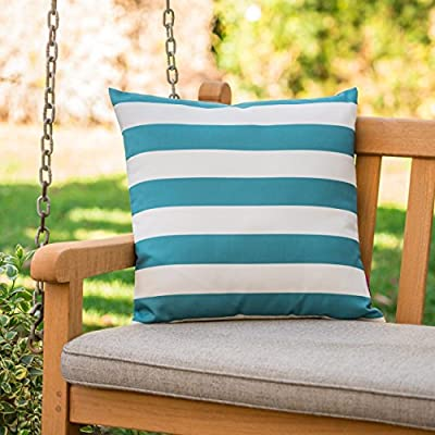 Coronado Outdoor Dark Teal and White Stripe Water Resistant Square Throw Pillow - Add some color to your patio set with this water resistant outdoor pillow Made from top quality fabric that won't absorb every drop of water and dirt, this pillow was designed with both the outdoors and your patio in mind Manufactured in China - patio, outdoor-throw-pillows, outdoor-decor - 51eY9DzKL5L. SS400  -