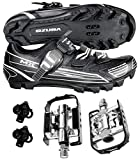 Venzo Mountain Bike Bicycle Shimano SPD Buckle Shoes with Wellgo Pedals 45