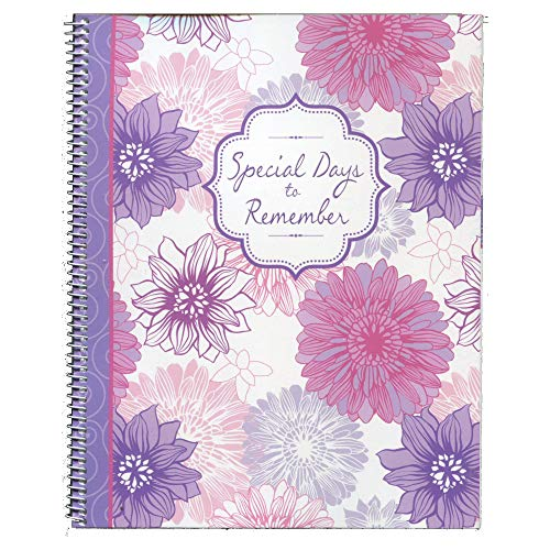 Monthly Greeting Card Keeper and Organizer Book - Special Days to Remember - Dahlias