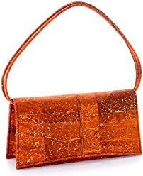 Artelusa Cork Clutch Pochette Handbag Orange/Gold Removable Strap Eco-Friendly Handmade in Portugal