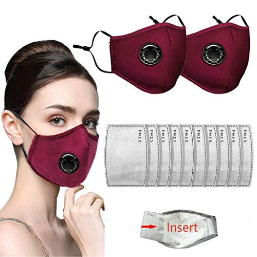 Face Bandanas with Breathing Valve + Activated Carbon Filter Replaceable Haze Dust for Adults (2pcs + 10 Filter, Red)