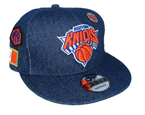 New York Knicks New Era APPLE PIN Multiple Logos Snapback Adjustable One Size Fits Most Hat Cap - Blue Denim