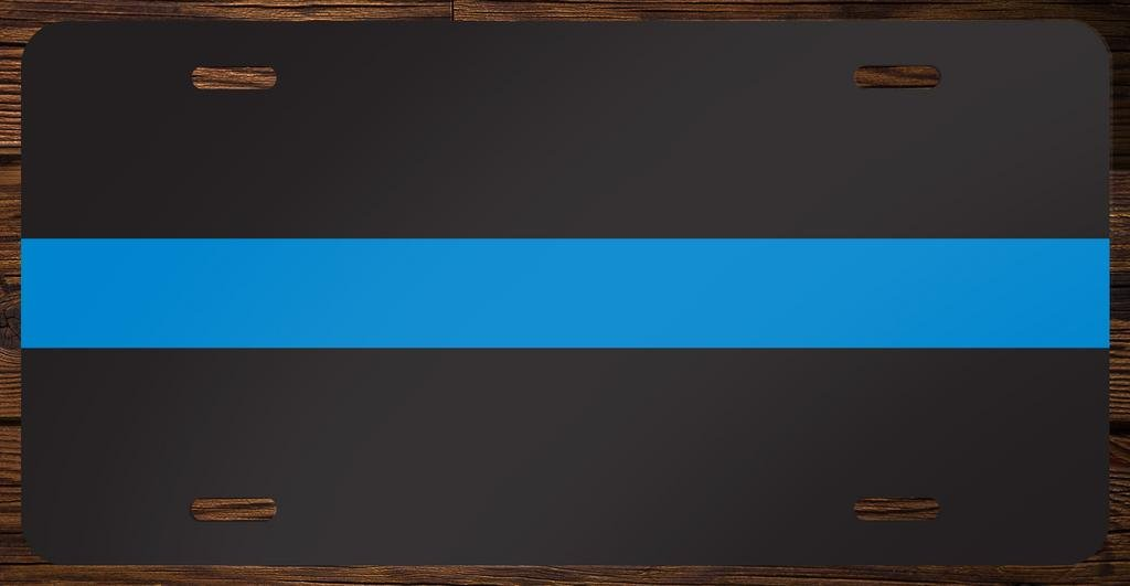 Thin Blue Line Vanity Front License Plate Tag Printed Full Color KCFP031 KCD