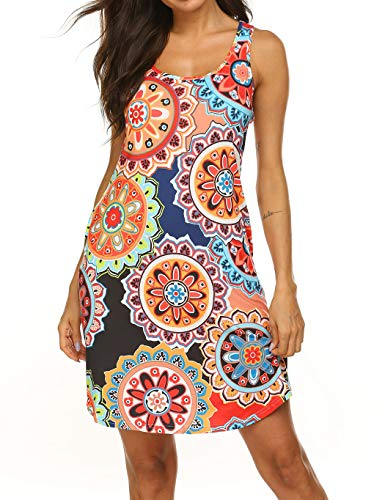 Back Sundress - LuckyMore Dresses for Women Casual Summer Plus Size Floral Print Sundress with Pockets Beach Coverups Pattern 1, XL