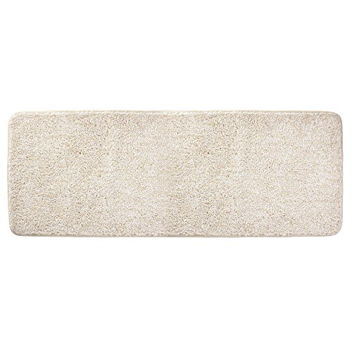 mDesign Soft Microfiber Polyester Non-Slip Extra-Long Spa Mat/Runner, Plush Water Absorbent Accent Rug for Bathroom Vanity, Bathtub/Shower, Machine Washable - 60'' x 21'' - Heathered Linen/Light Tan by mDesign