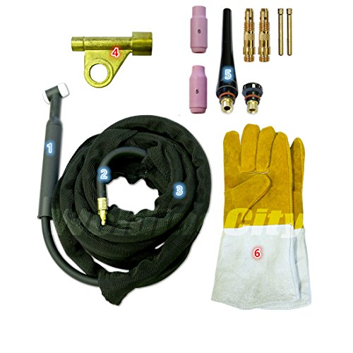 WeldingCity TIG Welding Torch WP-17-25R Complete Ready-to-Go Package Air-Cool 25-foot Cable 150Amp w/ Gloves by WeldingCity
