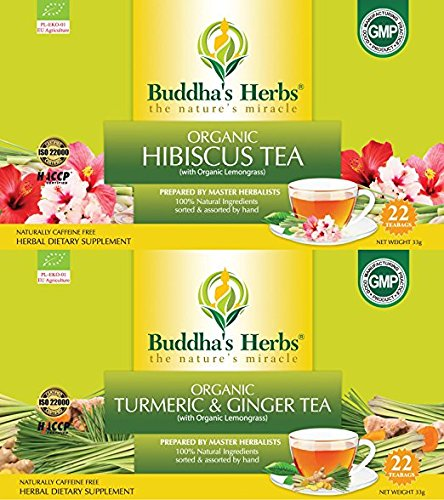 Buddha's Herbs Heart and Joint Health Pack with Organic Hibiscus and Organic Turmeric, 44 Tea bags