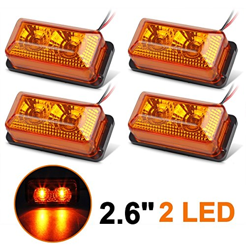 Partsam Mini Rectangular Rectangle Sealed LED Marker/Clearance Light 2LED Amber Truck RV Camper Trailer Accessories w/Miro-Reflectors (Pack of 4) by Partsam