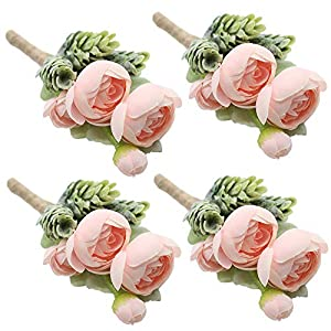 Artificial Succulent Boutonniere Bouquet Corsage Wristlet Vintage Silk Fake Pink Flowers flocked Plants For Wedding Decor 4 Pcs 97