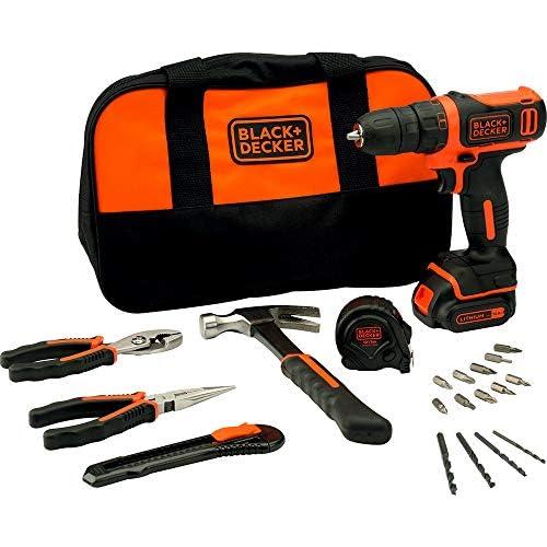 chollos oferta descuentos barato BLACK DECKER BDCDD12HTSA QW Taladro Atornillador 10 8V litio 1 5Ah 26 Nm incluye set de herramientas y bolsa de transporte