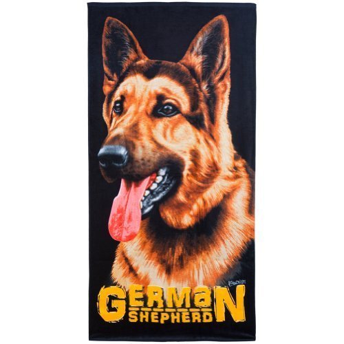 Animal World - German Shepherd Profile Velour Beach Towel - Black by Island Gear