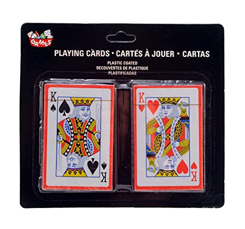 2-Decks Bridge Playing Cards, Plastic Coated, 52 Suited Cards and 2 Jokers. (1 Red & 1 Blue Deck) (Pattern One Deck)