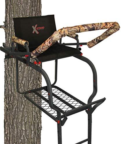 X-Stand Treestands The Duke 20' Single-Person Ladderstand Hunting Tree Stand, Black (Best Cheap Tree Stand)