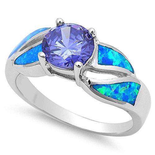 Oxford Diamond Co Simulated Tanzanite & Blue Fire Opal .925 Sterling Silver Ring Size - Ring Fire Opal Tanzanite