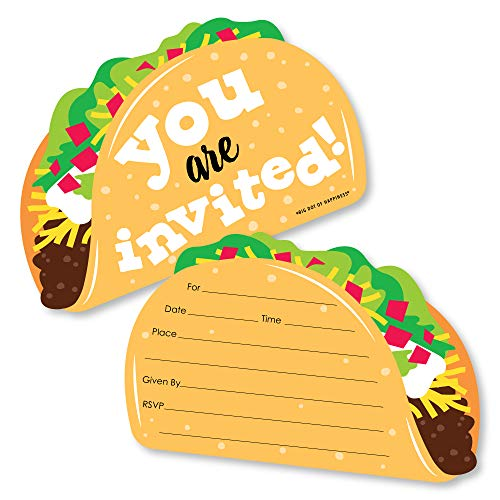 Big Dot of Happiness Taco 'Bout Fun - Shaped Fill-in Invitations - Mexican Fiesta Invitation Cards with Envelopes - Set of 12 (Taco Invitations Party)