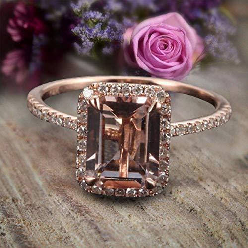 Limited Time Sale: 1.50 Carat Peach Pink Emerald Cut Morganite Diamond Engagement Ring 10k Rose Gold