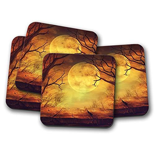 4 Set - Spooky Full Moon Forest Coaster - Halloween Creepy Night Fun Gift -