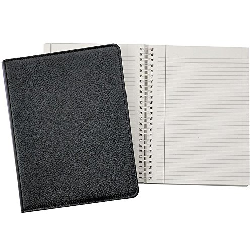 Wire-O-Notebook 9-inch Black PEBBLE GRAIN Fine Leather by Graphic Image™ - 7x9