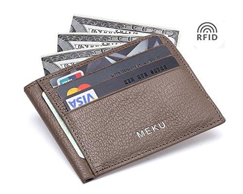 MEKU RFID Blocking Slim Leather Credit Card Holder Unisex Slim Business Card Case Minimalist Wallet with Cash Clip Khaki (Upgraded Version)