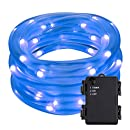 LE 16.5ft, 50 LED Rope String Lights, Daylight White, Battery Powered, Waterproof, Portable, Christmas Tree, Thanksgiving, Wedding, Party, Garden, Lawn, Patio Outdoor Decoration (Blue)