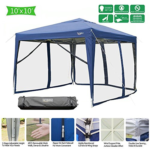VINGLI 10′ x 10′ Mesh Sidewalls POP UP Tent, Anti-Mosquito Screen Canopy, Instant Setup Gazebos, 4 Translucent Sides Doors, Windproof Sturdier Frame, 99% Anti-UV, Heavy Duty Wheeled Carry bag, Blue