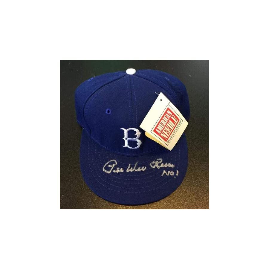 Pee Wee Reese NO. 1 Signed Game Model Brooklyn Dodgers Cap Hat COA PSA/DNA Certified Autographed Hats