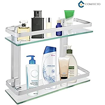 2 Tier Bathroom Glass Shelf Shower Organizer Storage Holder Wall Mounted  With Anti Rust Aluminum Rail 14u201d X 5u201d X 11u201d Clean Look Glass Basket Caddy  For ...