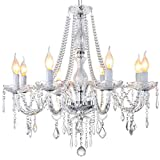 Classic Elegent Crystal Candle Candelabra Chandelier 8 Light Chrome Lighting Fixture LED Pendant Ceiling Light for Livingroom Bedroom Dinning Room 8 E12 Bulbs Required H 25 in x Dia 27 in