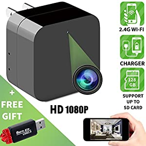 Hidden camera - Spy camera - APP Remote View - HD 1080P - Wifi camera - Wireless camera - Surveillance camera - Mini spy camera - Usb camera - Nanny camera - Best Spy camera charger - IMPROVED 2018