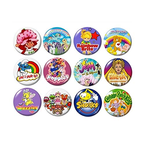 80's TV CARTOONS BUTTONS (set #1) pins television 1980's eighties new!]()