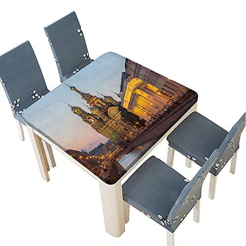 PINAFORE Tablecloth Waterproof Polyester Table The Church of The Savior on Spilled Blood is one of The Main Sights of St Petersburg Tablecloth for Wedding/Party 53 x 53 INCH (Elastic Edge) ()