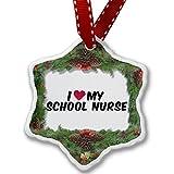 Christmas Ornament I heart love my School Nurse - Neonblond