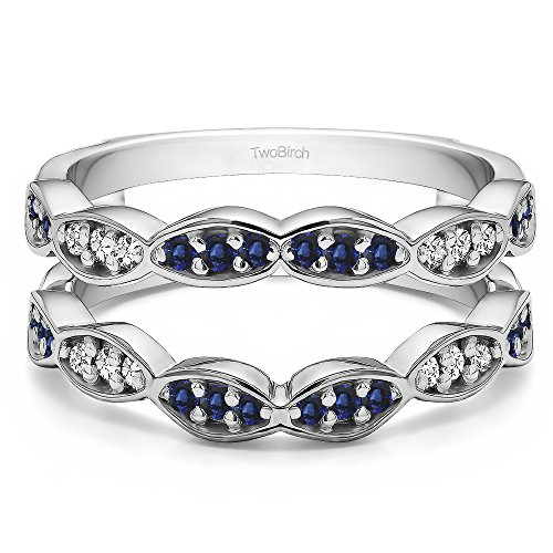 Sterling Silver Vintage Wedding Ring Guard Enhancer with Diamonds (G-H,I2-I3) and Sapphire (0.3 ct. tw.) by TwoBirch