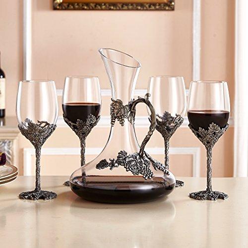 Wine Glasses Set of 5, Crystal Wine Glasses Set 4x 12oz Wine Glasses 1x 52oz Decanter with Enamels by NOSHMAN (Image #5)