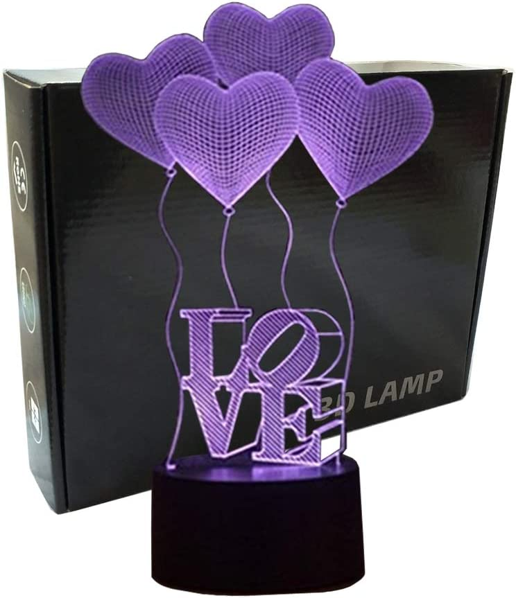 3D Illusion 4 Love Heart Balloons Night Light,USB 7 Colors Change Touch Table Desk Bedroom LED Lamp for Girls Lover's Gift&Home Decoration