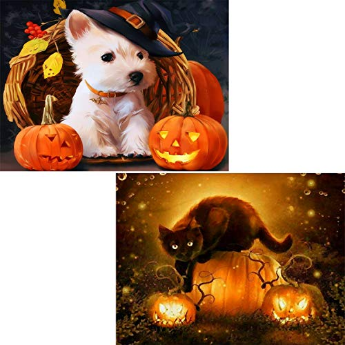 2 Pack 5D Diamond Painting Full Drill Halloween Pumpkin Dog & Cat by Number Kits for Adults, Puppy and Kitten DIY Embroidery Rhinestone Paint with Diamonds Art Pet Wall Decor 30x40 cm (12x16 inch)
